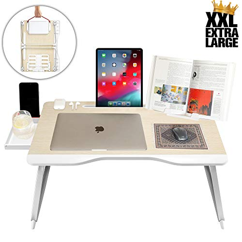 Cooper Mega Table [XXL Folding Laptop Desk] for Bed & Sofa | Couch Table, Bed Desk, Laptop, Writing, Study, Eating Storage, Reading Stand (White Oak)