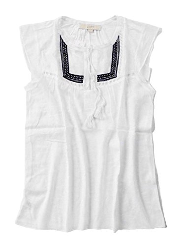 Ann Taylor Loft Womens   Crisp White Navy Embroidered Tassel Tie Tank Top  Large