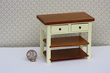 Amazon Com Dollhouse Miniature English Kitchen Island In Cream