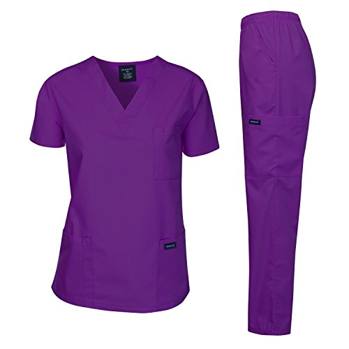 (Dagacci Medical Uniform Woman and Man Scrub Set Unisex Medical Scrub Top and Pant, PURPLE, S)