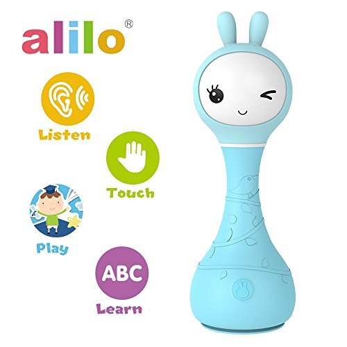 alilo Smarty Bunny Shake&Tell Rattle Baby Toy with Lullaby Song Music Player Blue Lullaby Bunny