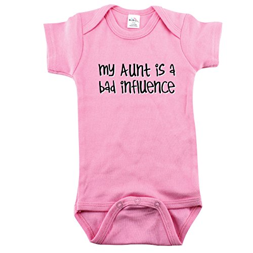 Girls Aunt Shirt, Girls My Aunt Is A Bad Influence Bodysuit, Pink 0-3 m