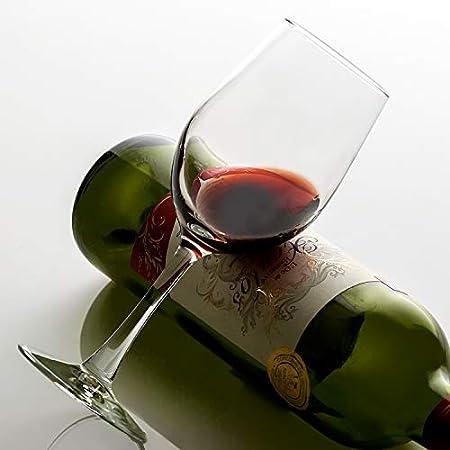 UMIZILI - Juego de 6 copas de vino (12 onzas), color rojo y blanco