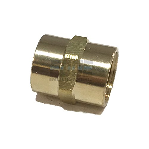 "EDGE INDUSTRIAL Brass Coupling 3/8"" Female NPT FNPT Fuel / AIR/ Water / Oil/ Gas WOG (Qty 01)"