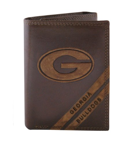 Georgia Bulldogs Leather - NCAA Georgia Bulldogs Zep-Pro Pull-Up Leather Trifold Embossed Wallet, Brown