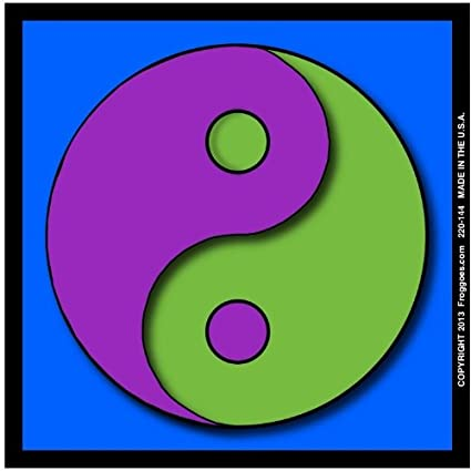 YING YANG PURPLE GREEN WITH BLUE BACKGROUND STICK ON