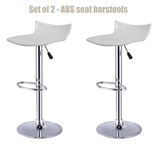 Contemporary High-Gloss ABS Seat Bar stool Adjustable Height 360 Degree Swivel Stable Footrest Premium Chrome Frame Kitchen Office Pub Chair New White - Set of 2 - Outlet North Premium Vegas