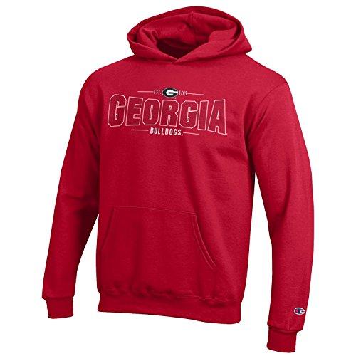 Champion NCAA Youth Long Sleeve Fleece Hoodie Boy's Collegiate Sweatshirt Georgia Bulldogs Large