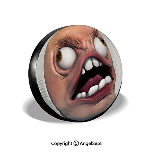 Spare Tire Cover,Angry Rage Guy Meme Bad Hair Day Late Work Emotions Ugh Fun Artsy Illustration,Coral Pearl,for Jeep,Trailer, RV, SUV and Many Vehicle 15