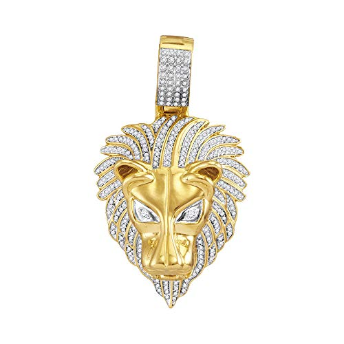 - The Diamond Deal 10kt Yellow Gold Mens Round Diamond Lion Head Animal Charm Pendant 7/8 Cttw