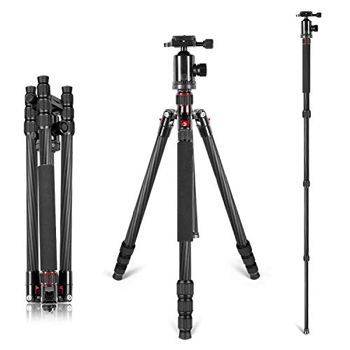 Neewer Carbon Fiber 66 inches/168 centimeters Camera Tripod Monopod with 360 Degree Ball Head