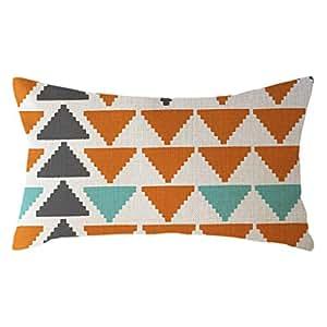 Watopi - Funda de cojín de Lino y algodón, diseño geométrico ...