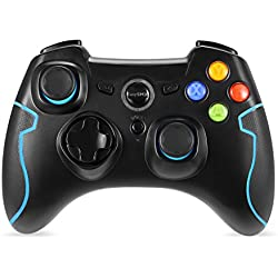 EasySMX Wireless 2.4g Game Controller with Vibration Fire Button range up to 10m Support PC (Windows XP/7/8/8.1/10) and PS3, Android, Vista, TV Box Portable Gaming Joystick Handle (Black and Red)