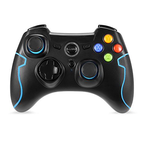 EasySMX Wireless 2.4G Game Controller with Vibration Fire Button range up to 10m Support PC (Windows XP/7/8/8.1/10) and PS3, Android, Vista, TV Box Portable Gaming Joystick Handle (Black and Blue)