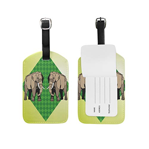 Africa Wild Elephant Luggage Tags USA Travel Air Label Card (2PCS) by Nigbin