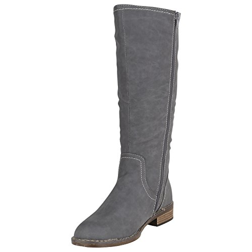 Stiefelparadies Klassische Damen Stiefel Langschaftstiefel Velours Schnallen Schuhe Blockabsatz Damenstiefel Flandell Grau Carlton