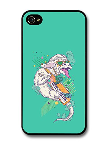 White Dragon Playing Electro Keyboard 80s Throwback Radical on Turquoise case for iPhone 4 4S