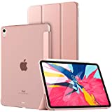 "TiMOVO Case Fit iPad Pro 11"" 2018, Smart Case Translucent Frosted Back Protector with Side Opening for Pencil Magnet, Auto Wake/Sleep Trifold Cover Compatible with iPad Pro 11 2018 Tablet - Rose Gold"
