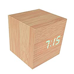 Cube Led Wood Clock Alarm Desk Mini Voice Control Bamboo Wooden Clock with Temperature Display and Green Led Light (