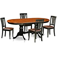 East West Furniture PLAV5-BCH-LC 5 Piece Dining Table with 4 Wooden Chairs Set