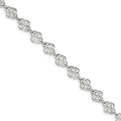 (Black Bow Jewelry Sterling Silver Filigree Swirl Link Anklet, 9 Inch)