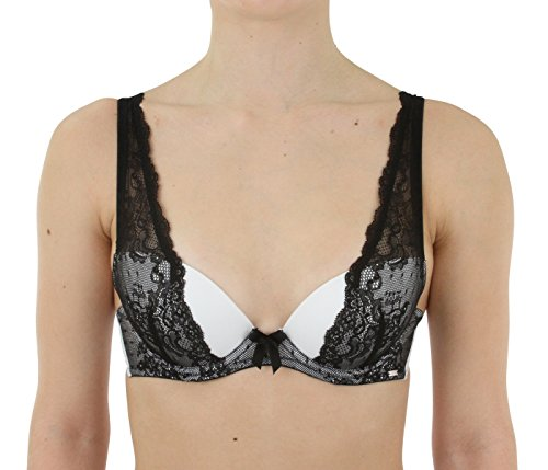 Christian Lacroix Molded Underwire Lace Plunge Bra, White with Black Lace, Size 38C