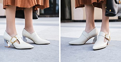 peu Fer Chaussures pour Chaussures à Cuir et cheval été Boucle taille métal Pointu véritable en La Couleur 34 Blanc à profonde talons Printemps bouche femmes Blanc qxIOww