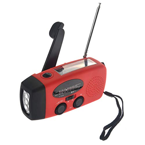VOSAREA Emergency Solar Crank AM FM Camp Radio with LED Flashlight USB Output Port(Red) by VOSAREA (Image #1)