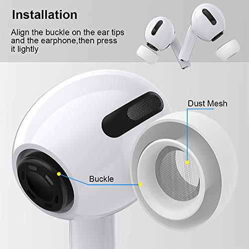 【3 Pairs 】 Replacement Ear Tips for Apple AirPods Pro, 6 Pieces Anti Slip Noise Reducing Ear Buds Soft Silicone Eartips…