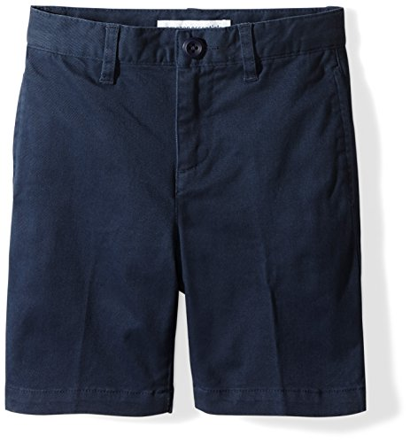 Amazon Essentials Toddler Boys' Flat Front Uniform Chino Short, Washed Navy, 2T