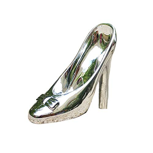 QING Crystal Clear Glass Slipper Shoes Cake Topper Decoration Wedding Party Birthday Present (Silver)