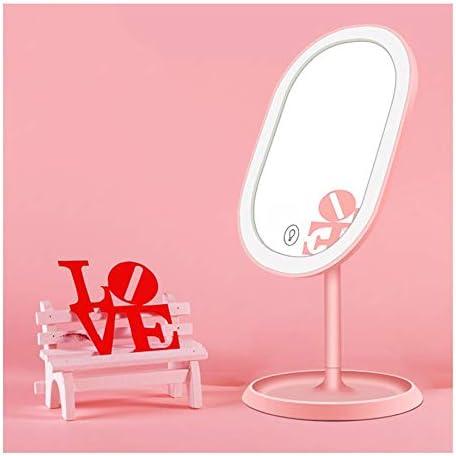 調光可能なタッチスクリーン180°回転可能なポータブルトラベルミラーと3ライトモードバニティミラー付きメイクアップミラー (Color : Pink)