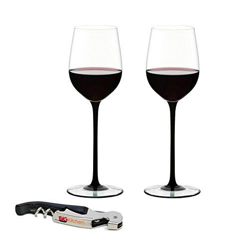Riedel Sommeliers Black Tie Leaded Crystal Mature Bordeaux Wine Glass, Set of 2 with Bonus BigKitchen Waiter's Corkscrew