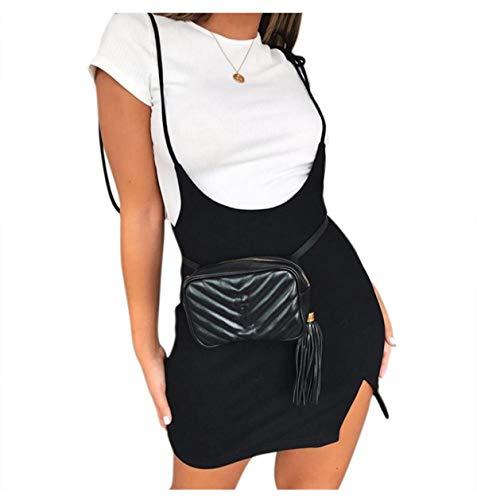 Women's Sexy Bodycon Mini Pencil Overall Suspender High Waist Split Hem Short Skirt Black