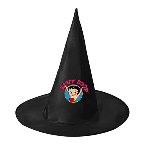[Halloween Wizard Hat Betty Boop Logo Kids Adult Black Witch Hats Personalizes Costume Accessory] (Black Betty Boop Costume)