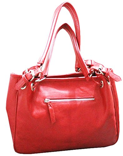 11sunshop BAG-SILVYA - Bolso de asas para mujer Rojo rojo M