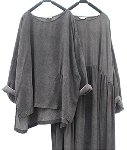 Silk Linen Dress (Yesno TG2 Women Crop Tops Blouse Casual Retro Loose Fit Oil Dyed Split Hi-Low Hem (One Size (L-XL, US12-18),)