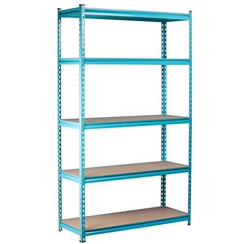 Sky Blue Steel Storage Rack Boltless Shelving Tier Height Adjustable 48
