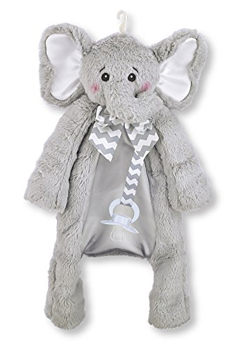 Bearington Baby Lil Spout Pacifier Pet, Gray Elephant Plush Stuffed Animal Lovie and Paci Holder, 15