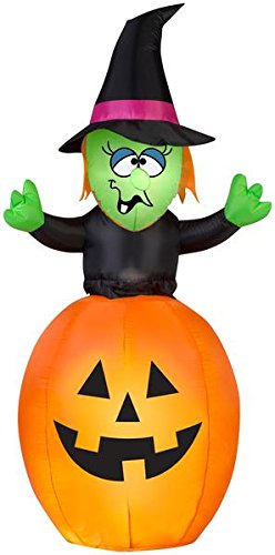 5.5' Airblown Springing Witch in Pumpkin Halloween Inflatable
