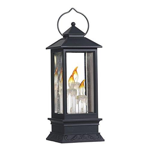 Lighted Snow Globe Lantern: 11 Inch, Black Holiday Water ...