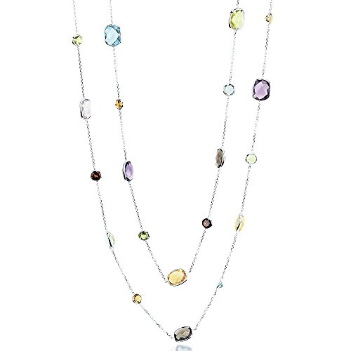 14K White Gold Station Necklace With Cushion Cut And Round Gemstones 36 Inch by amazinite