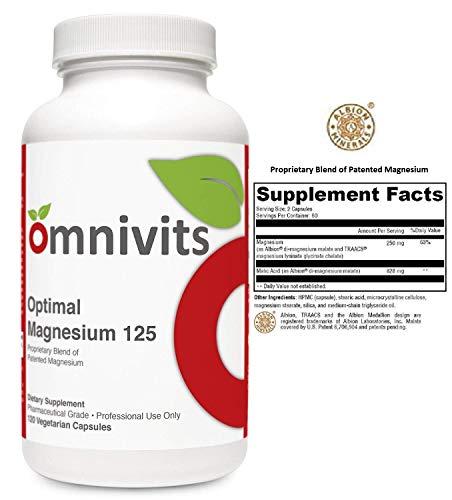 (Omnivits Optimal Magnesium 125 | Albion®'s TRAACS® Magnesium Lysinate Glycinate (Mineral Amino Acid Chelate) & Di-Magnesium Malate | Enhanced Absorption | 120 Vegetarian Capsules)