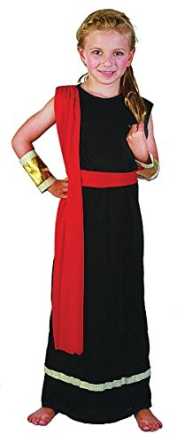 Large Black & Red Girls Roman Girl Costume (Roman Girl Costume)