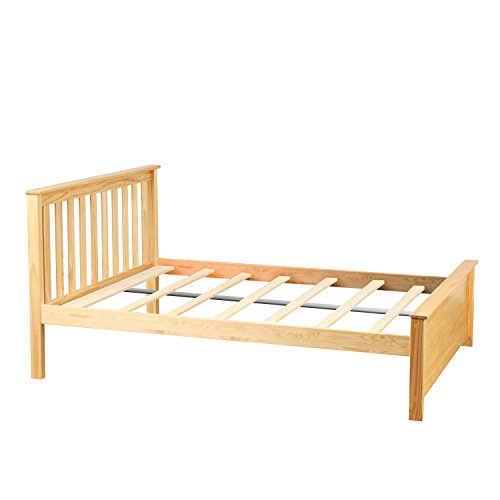 Max & Lily Solid Wood Full-Size Bed, Natural (Pine Bed Headboards)