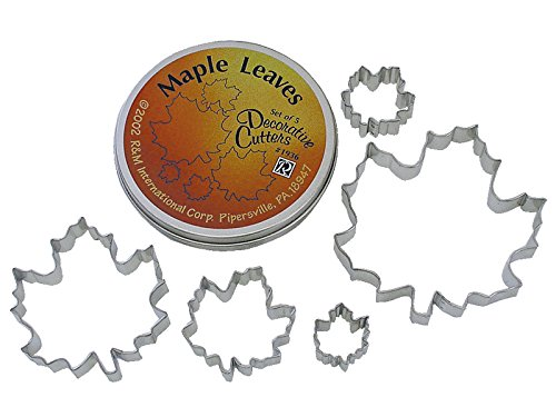 R & M International Beautiful Set of 5 Assorted Size Maple Leaf Cookie Cutters Largest Cutter is 5