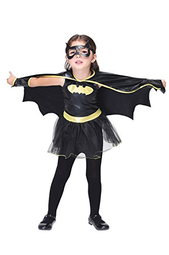 Kids Cosplay Costumes Cool Batman Party Dress for Little Girl, S (Cute Monster Costumes For Girls)