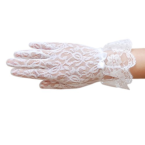 Floral Lace Gloves - ZaZa Bridal Stretch floral lace gloves for girl with lace ruffle trim Wrist Length 2BL-Girl's Size Medium (8-12yrs)/White