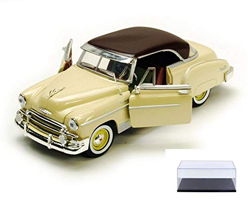 Diecast Car & Display Case Package - 1950 Chevy Bel Air, Yellow with Brown Roof - Motormax Premium American 73268 - 1/24 Scale Diecast Model Car w/Display Case