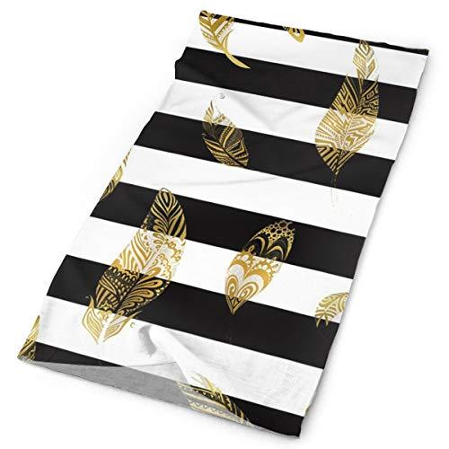 Black and White Striped Gold Leaf Head Bands for Adults Headbands Hair Headband Men Women Headwear Headscarf ()